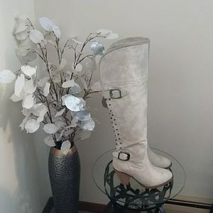 Knee High Embellished Faux Suede Boots
